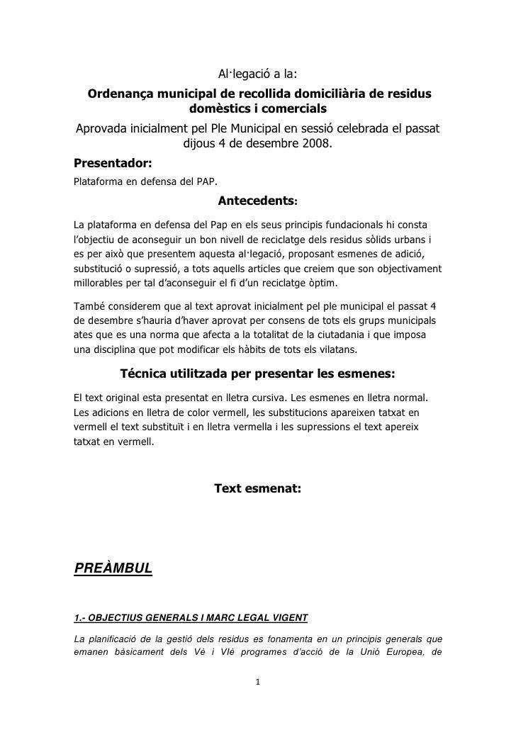 Al·legació a la:    Ordenança municipal de recollida domiciliària de residus                  domèstics i comercials Aprov...