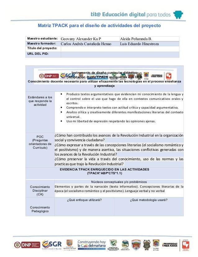 Matriz TPACK para el diseño de actividades del proyecto Maestro estudiante: Geovany Alexander Ku P Aleida Peñaranda B. Mae...