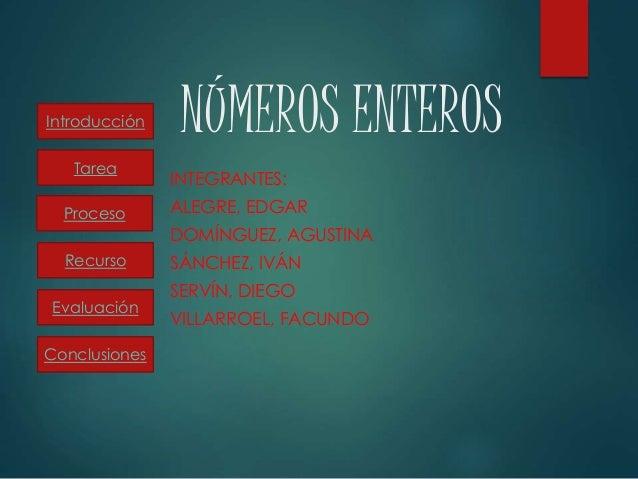 NÚMEROS ENTEROS INTEGRANTES: ALEGRE, EDGAR DOMÍNGUEZ, AGUSTINA SÁNCHEZ, IVÁN SERVÍN, DIEGO VILLARROEL, FACUNDO Introducció...