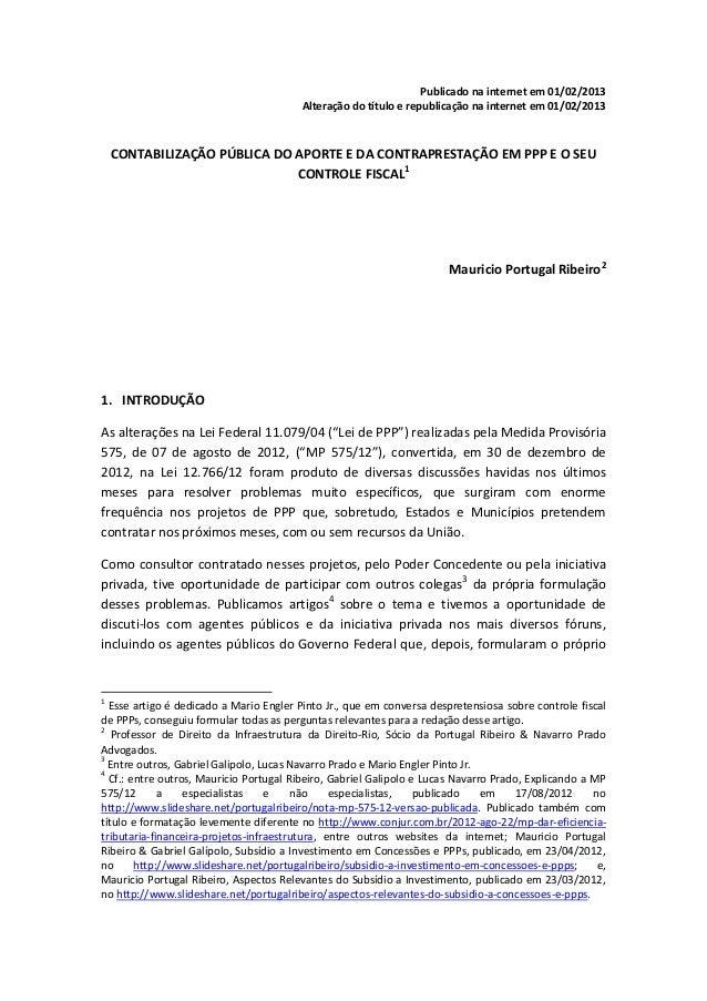 Publicado na internet em 01/02/2013                                         Alteração do título e republicação na internet...