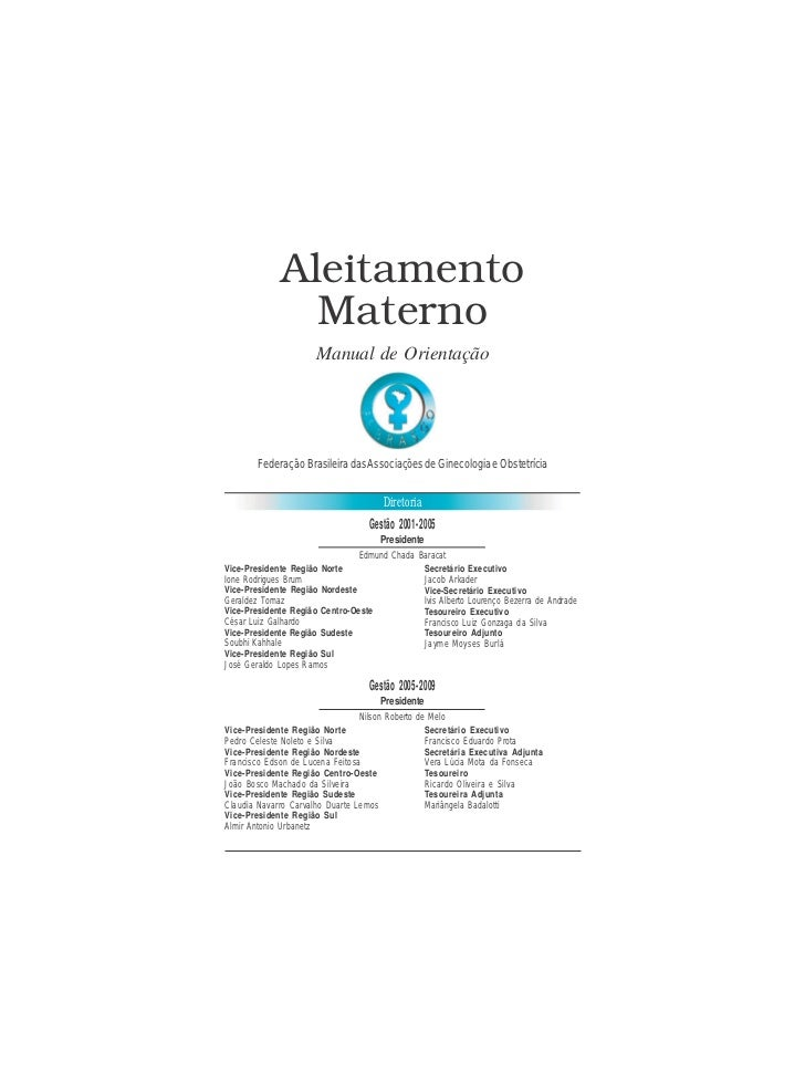 FEBRASGO - Manual de Orientação                               Aleitamento Materno             Aleitamento               Ma...