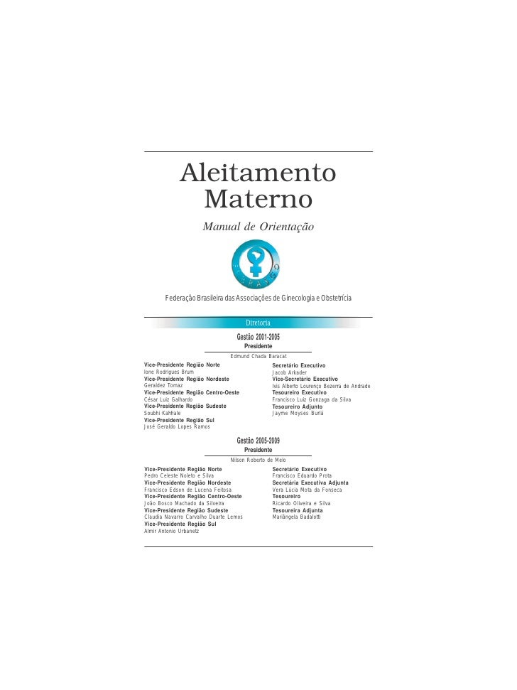 FEBRASGO - Manual de Orientação                               Aleitamento Materno                Aleitamento              ...