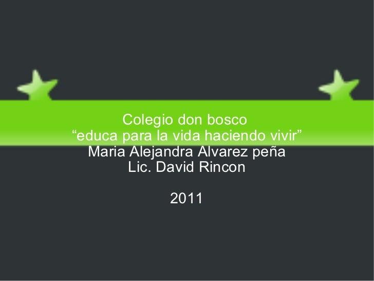 """Escazes de agua Colegio don bosco  """" educa para la vida haciendo vivir"""" Maria Alejandra Alvarez peña Lic. David Rincon 2011"""