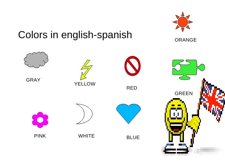 Colors in english-spanish GRAY YELLOW RED  ORANGE PINK WHITE BLUE GREEN