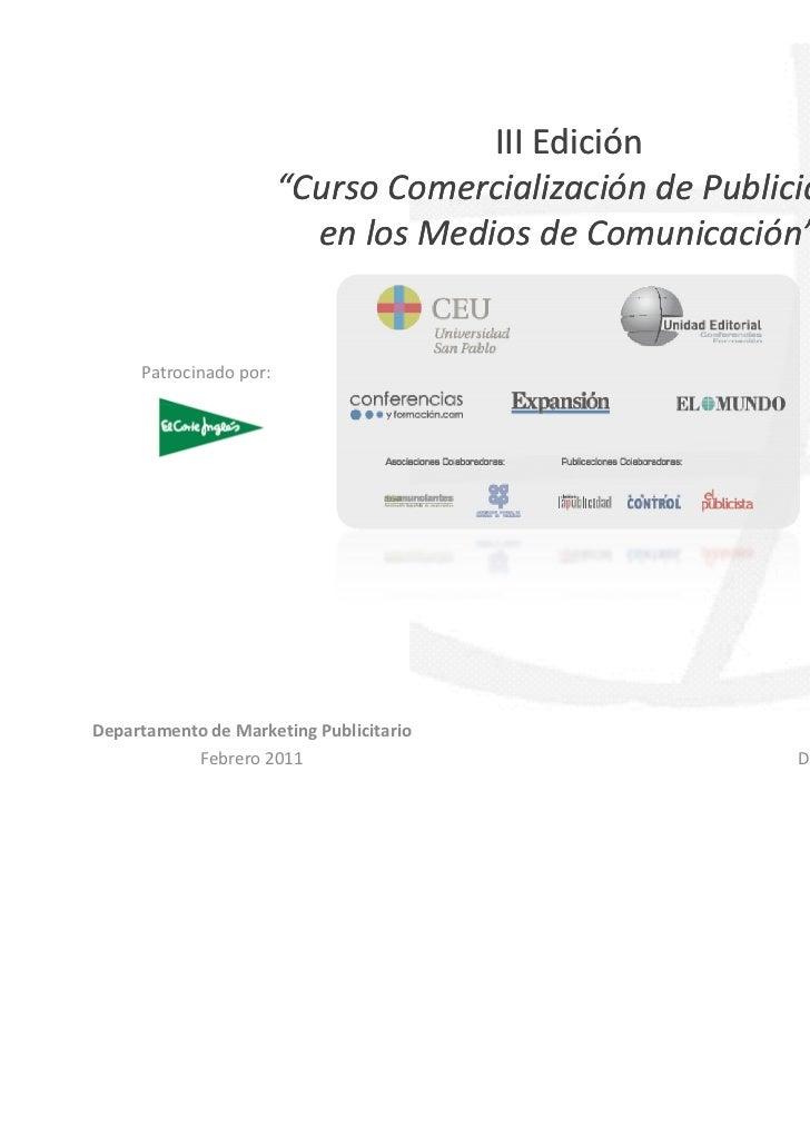 """III Edición                        """"Curso Comercialización de Publicidad                          en los Medios de Comunic..."""