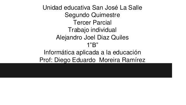 """Unidad educativa San José La Salle Segundo Quimestre Tercer Parcial Trabajo individual Alejandro Joel Diaz Quiles 1""""B"""" Inf..."""