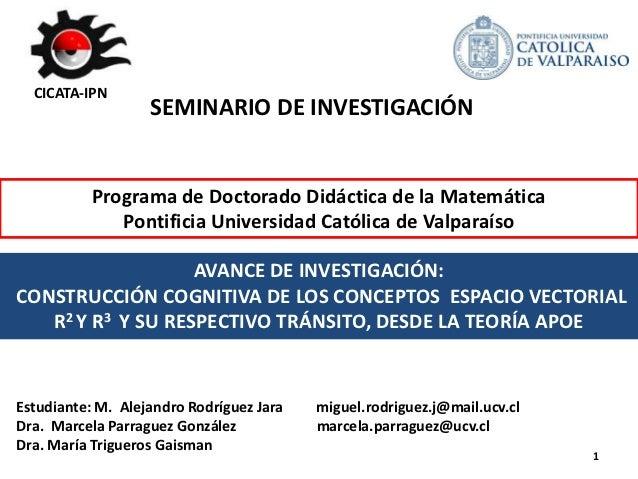 CICATA-IPN                   SEMINARIO DE INVESTIGACIÓN           Programa de Doctorado Didáctica de la Matemática        ...