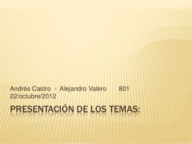 Andrés Castro - Alejandro Valero   80122/octubre/2012PRESENTACIÓN DE LOS TEMAS: