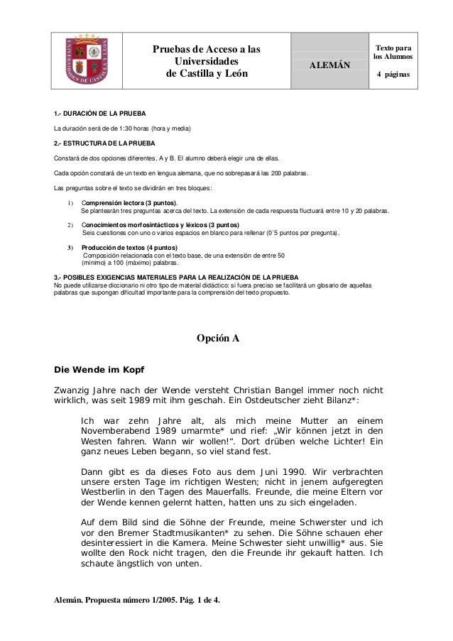 Alemán. Propuesta número 1/2005. Pág. 1 de 4. Pruebas de Acceso a las Universidades de Castilla y León ALEMÁN Texto para l...