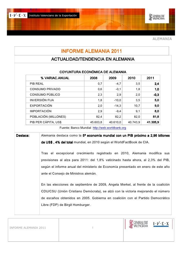 ALEMANIA                                 INFORME ALEMANIA 2011                          ACTUALIDAD/TENDENCIA EN ALEMANIA  ...