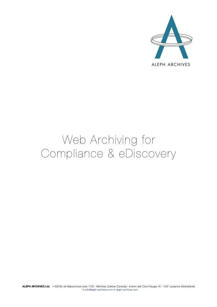 Web Archiving Whitepaper Aleph Archives