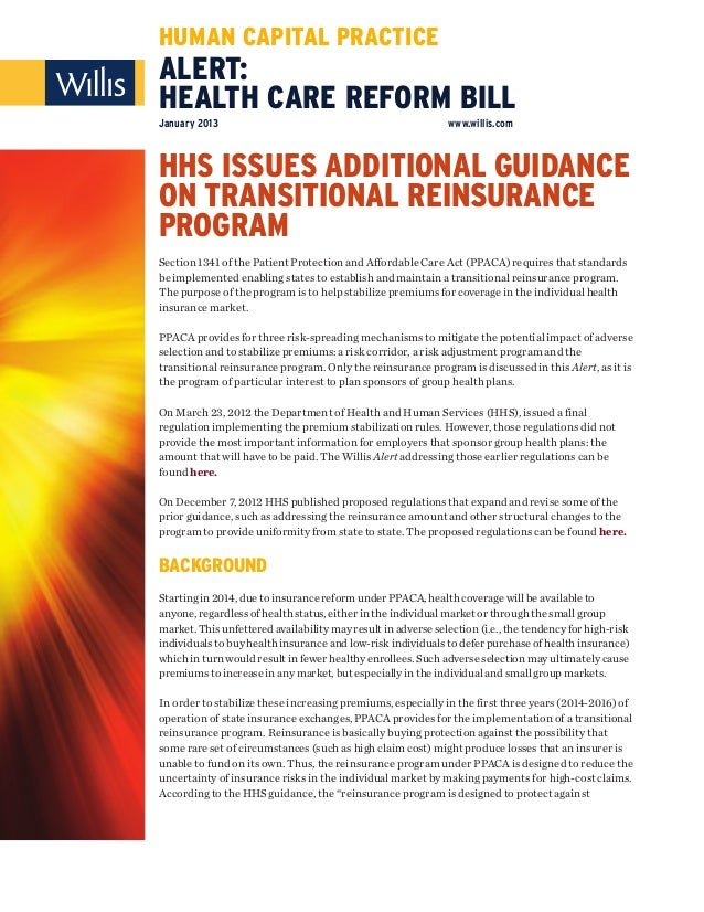 Alert   health care reform bill - hhs issues additional guidance on transitional reinsurance program