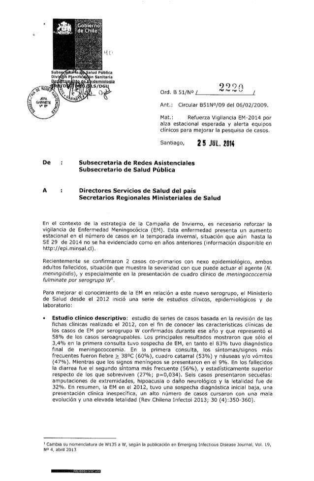 Refuerzo vigilancia Enfermedad Meningocócica 2014