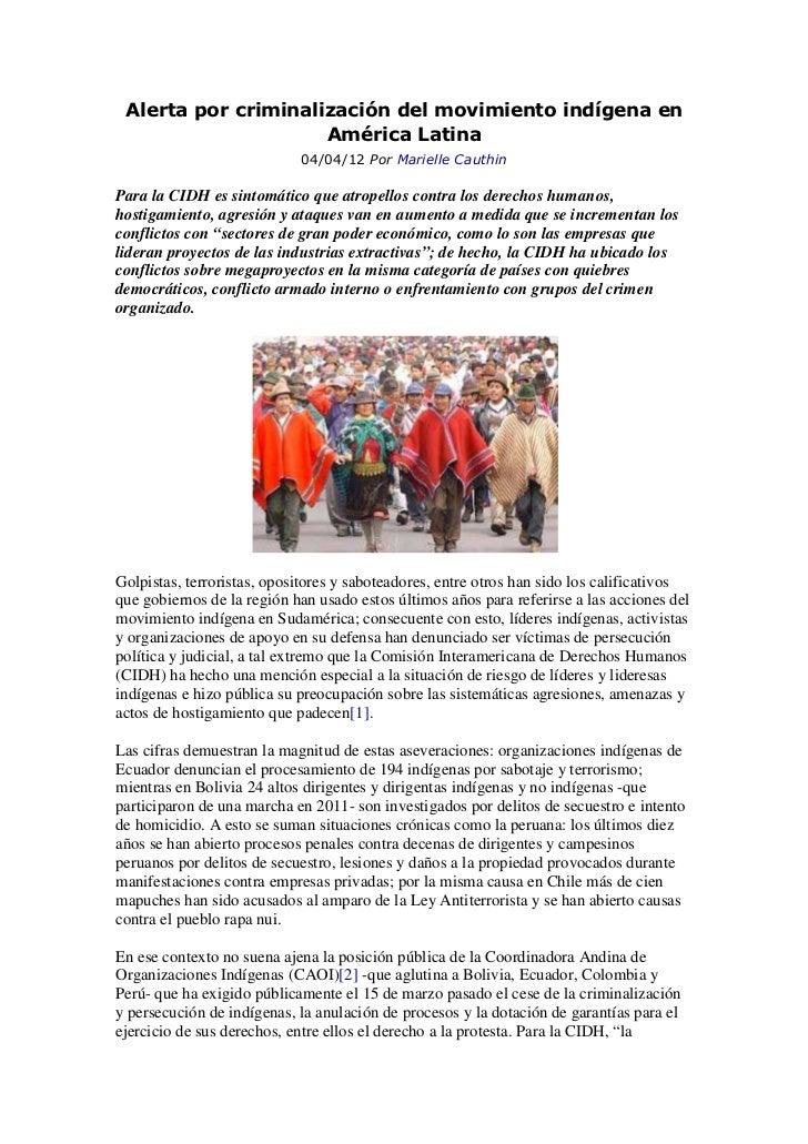 Alerta por criminalización del movimiento indígena en                     América Latina                            04/04/...