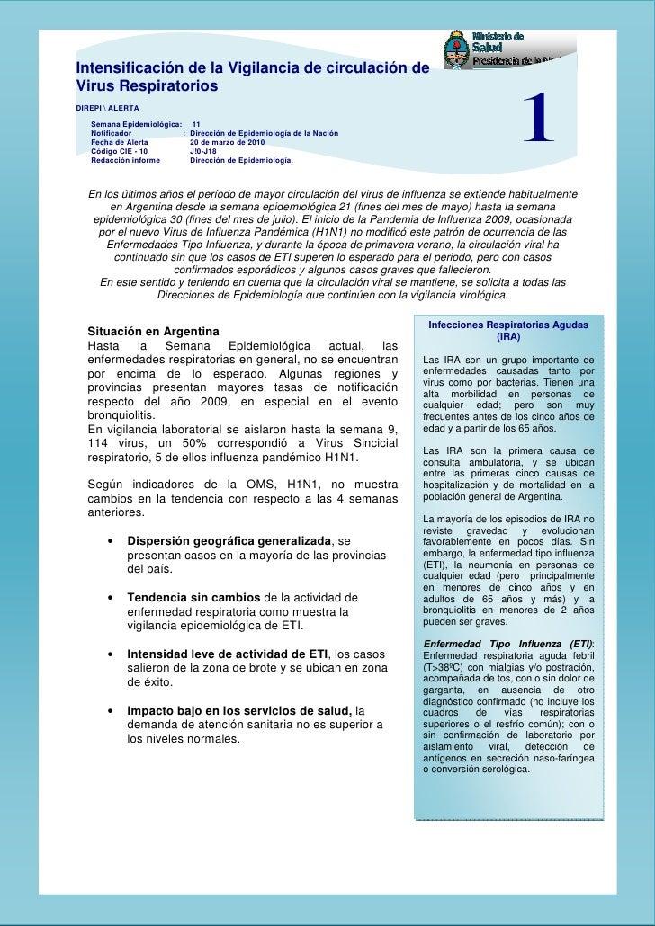 Alerta Por IntensificacióN De La Vigilancia De CirculacióN De Virus Respiratorios