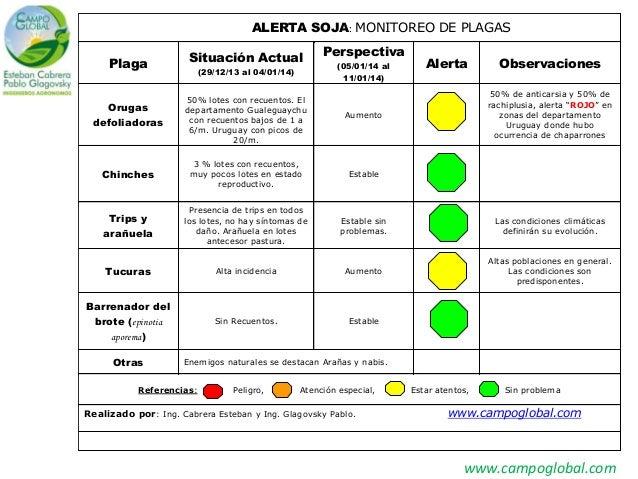 www.campoglobal.com ALERTA SOJA: MONITOREO DE PLAGAS Plaga Situación Actual (29/12/13 al 04/01/14) Perspectiva (05/01/14 a...