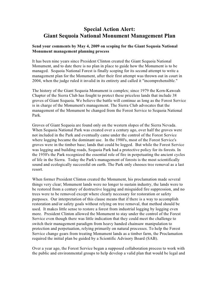 Special Action Alert:      Giant Sequoia National Monument Management PlanSend your comments by May 4, 2009 on scoping for...
