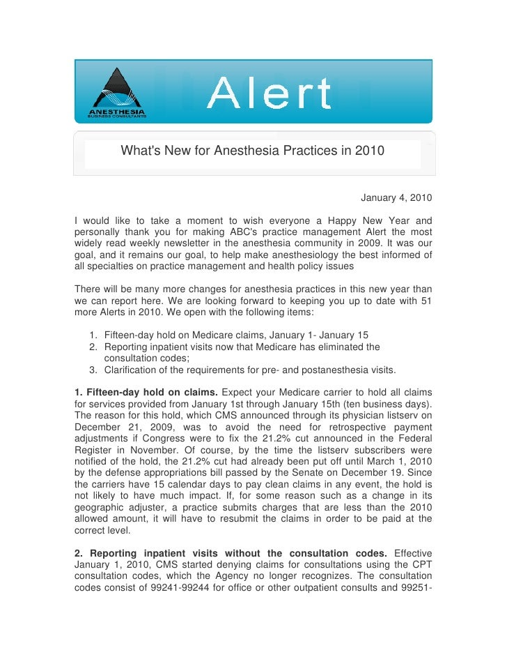 Alert Whats New For Anesthesia Pratices In 2010
