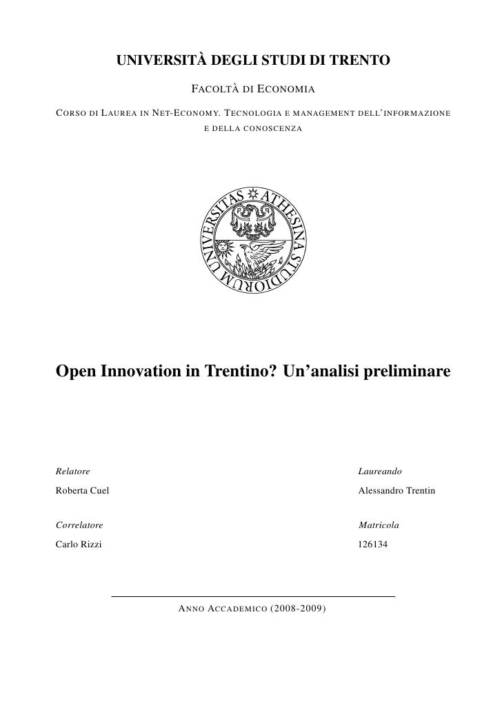 Open Innovation in Trentino?Un'analisi preliminare