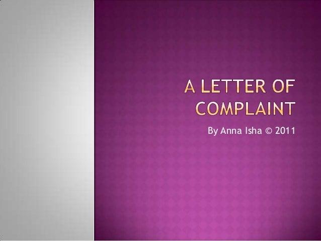 A letter of complaint 2012
