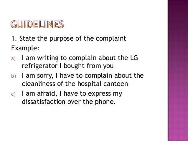 letter of complaint 2012