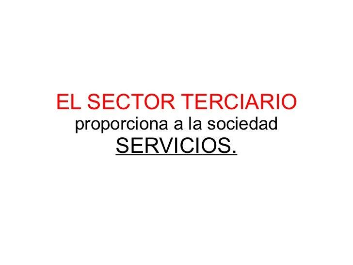 EL SECTOR TERCIARIO proporciona a la sociedad SERVICIOS.