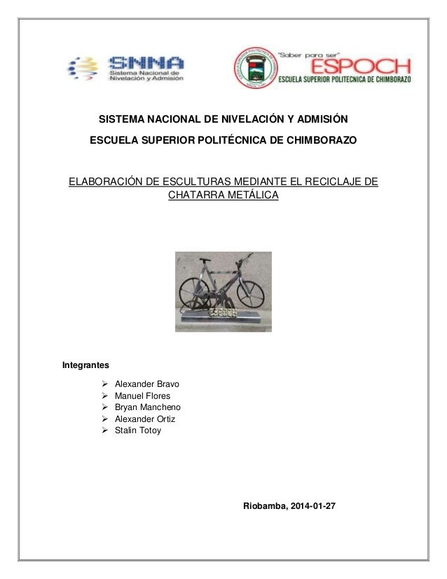 ELABORACIÓN DE ESCULTURAS MEDIANTE EL RECICLAJE  DE CHATARRA METÁLICA