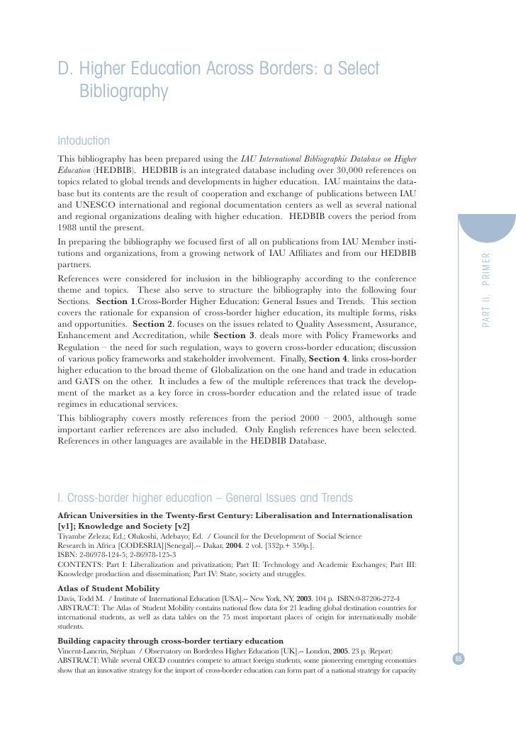 Alex. bd higher education across borders  a select bibliography