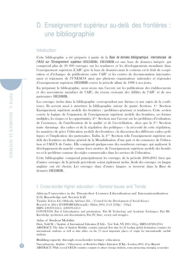 PA R TIE  II.   DOCUMENTS  DE  REFERENCE D. Enseignement supérieur au-delà des frontières :<br />une bibliographie<br />In...