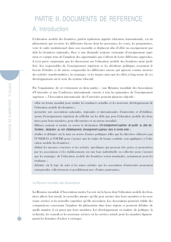 PA R TIE  II.   DOCUMENTS  DE  REFERENCE PARTIE II. DOCUMENTS DE REFERENCE<br />A. Introduction<br />L'éducation au-delà d...