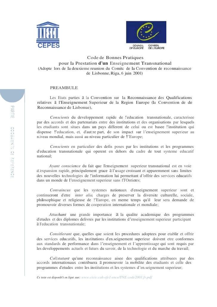CEPES<br />Code de Bonnes Pratiques<br />pour Ia Prestation d'un Enseignement Transnational<br />(Adopte  lors de Ia deuxi...