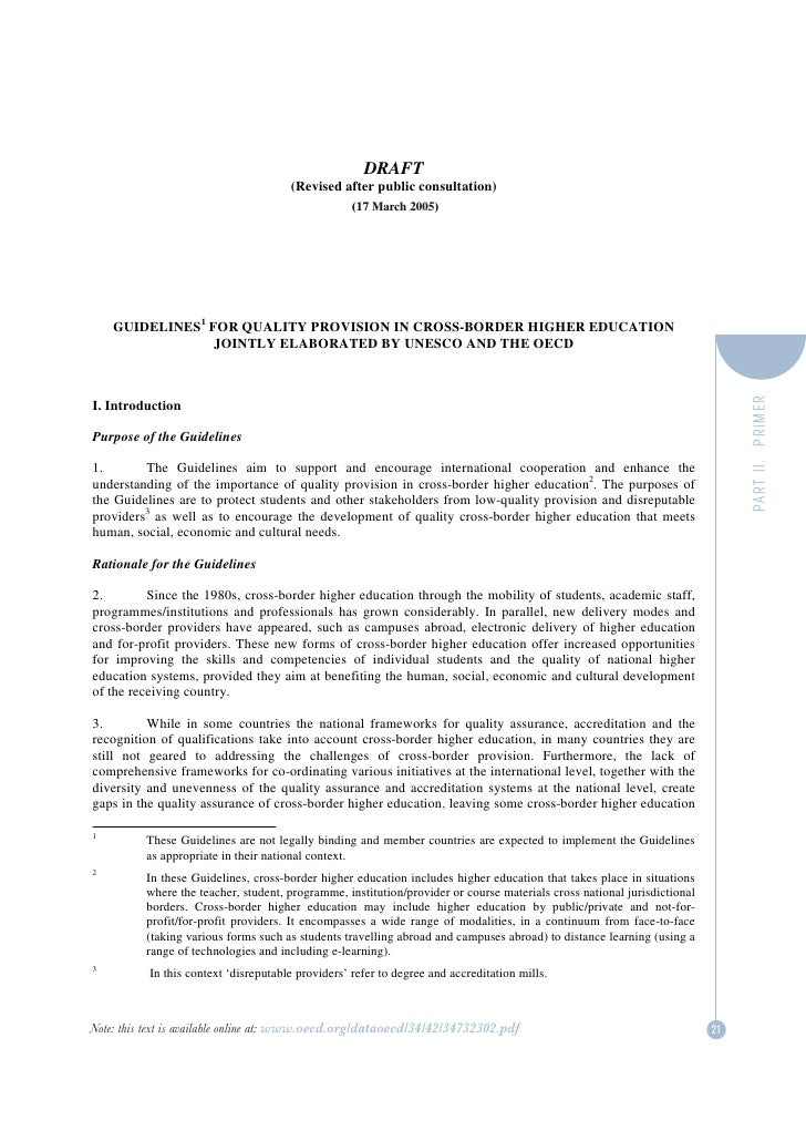 Alex. bd unesco oecd draft guidelines for quality provision in cross-border higher education