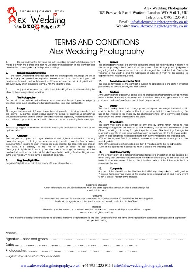 Photography terms and conditions for Booking terms and conditions template