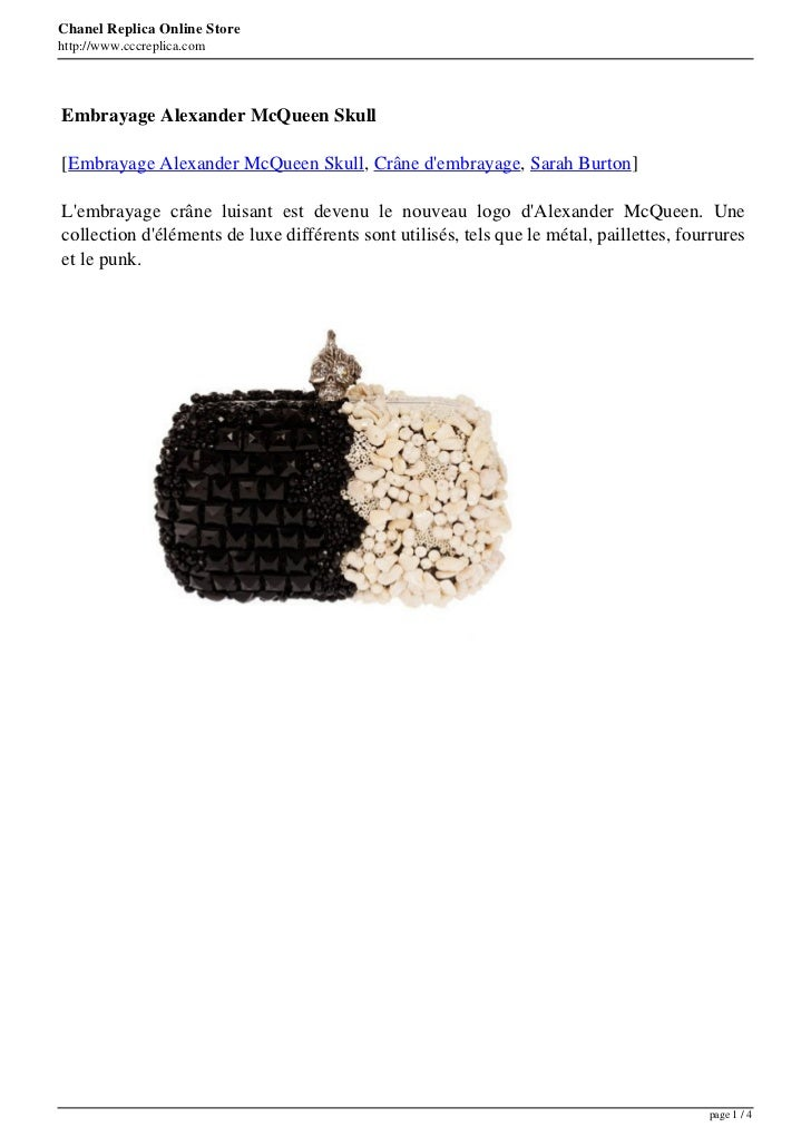 Chanel Replica Online Storehttp://www.cccreplica.comEmbrayage Alexander McQueen Skull[Embrayage Alexander McQueen Skull, C...