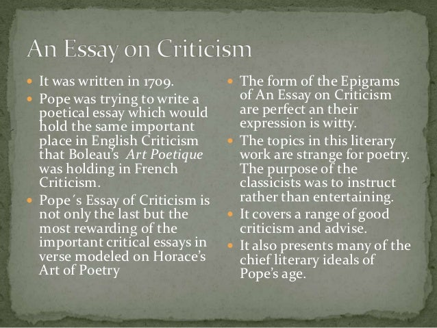 alexander pope essay on criticism full text Essay on criticism full text english poetry, full text university of pennsylvania, full text pope, alexander: the works (1736) vol i with.