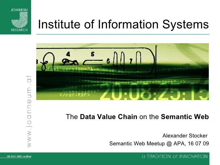 Institute of Information Systems Hinweise zur Verwendung dieser Folien bzw. Erstellun The  Data Value Chain  on the  Seman...