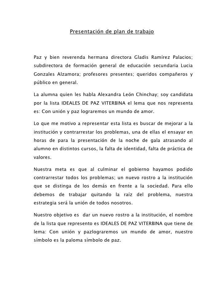 Presentación de plan de trabajo<br />Paz y bien reverenda hermana directora Gladis Ramírez Palacios; subdirectora de forma...