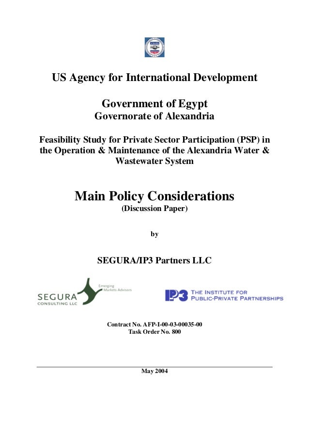 US Agency for International Development               Government of Egypt              Governorate of AlexandriaFeasibilit...