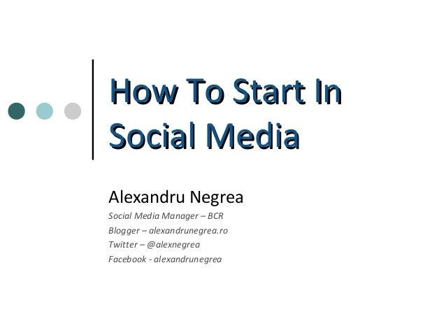 How To Start In Social Media - Basic (WebClub)