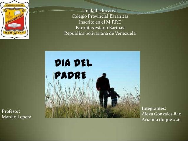 Unidad educativaColegio Provincial BaranitasInscrito en el M.P.P.EBarinitas estado BarinasRepublica bolivariana de Venezue...