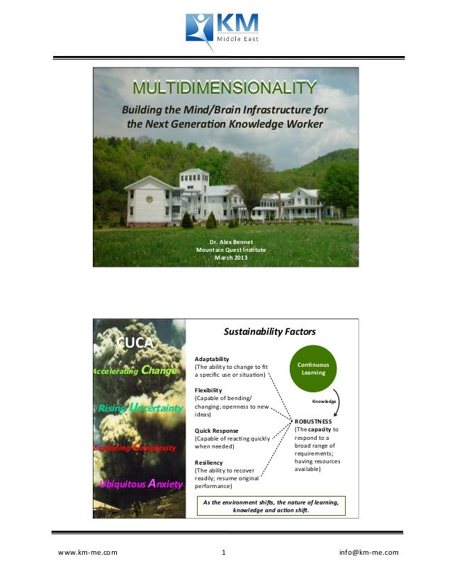 MULTIDIMENSIONALITY                  Building the Mind/Brain Infrastructure for                    the Next ...