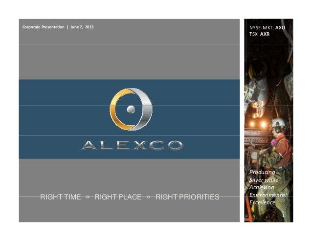 CorporatePresentation|June7,2013 NYSE‐MKT:AXUTSX:AXRProducingSilverwhileAchievingEnvironmentalRIGHT TIME » R...