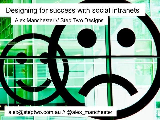 Designing for success with social intranetsAlex Manchester // Step Two Designsalex@steptwo.com.au // @alex_manchester