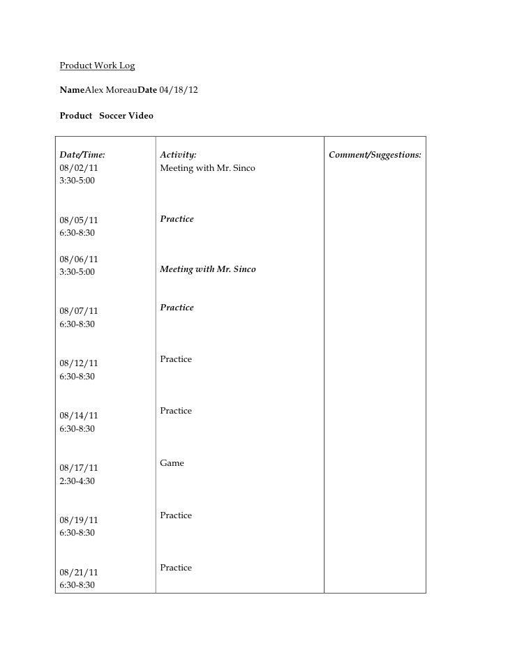 Alex moreau's soccer work log