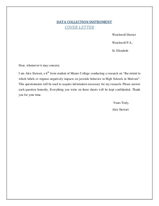 sample cover letter for thesis questionnaire