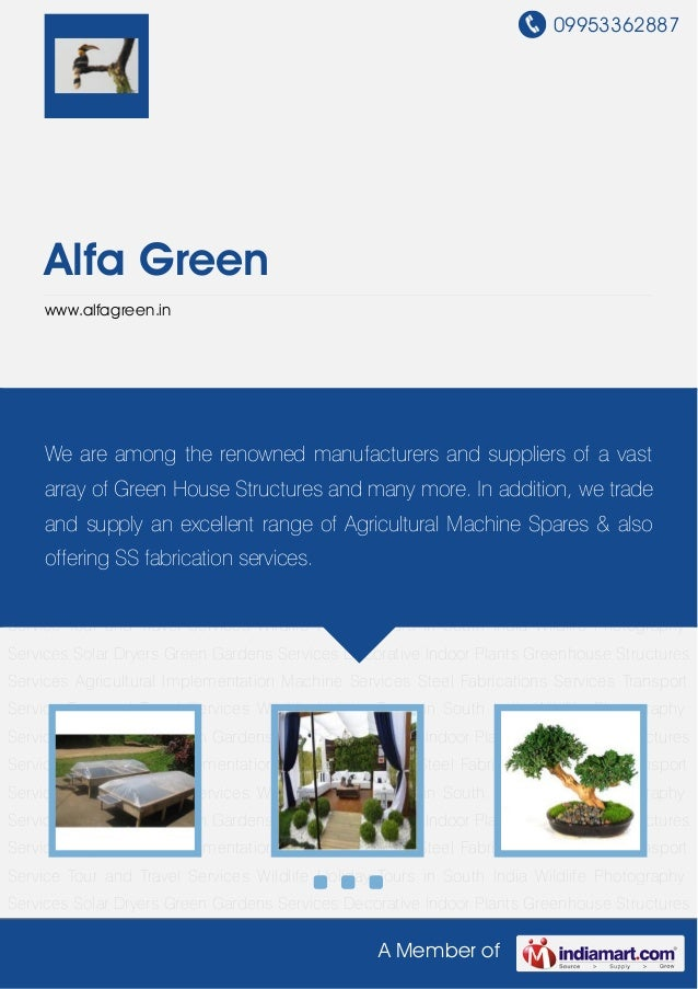 09953362887A Member ofAlfa Greenwww.alfagreen.inSolar Dryers Green Gardens Services Decorative Indoor Plants Greenhouse St...