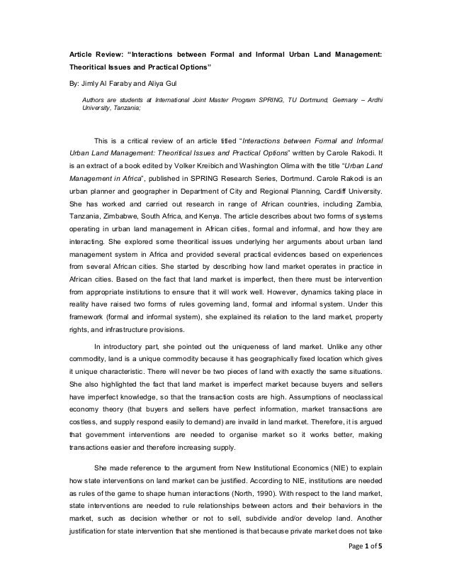 """Article Review: """"Interactions between Formal and Informal Urban Land Management: Theoritical Issues and Practical Options""""..."""