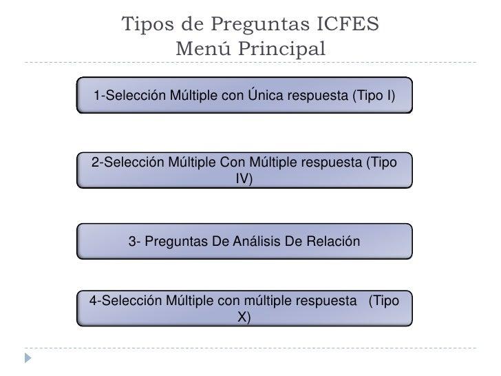 Tipos de Preguntas ICFES           Menú Principal  1-Selección Múltiple con con Única respuesta I)    1-Selección Múltiple...