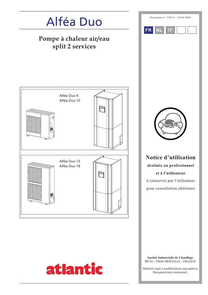 Document n° 1329-4 ~ 24/04/2009                                FR      NL       IT      EN DE Pompe à chaleur air/eau    s...