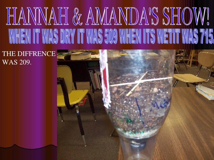 HANNAH & AMANDA'S SHOW! WHEN IT WAS DRY IT WAS 509 WHEN ITS WETIT WAS 715. THE DIFFRENCE WAS 209.